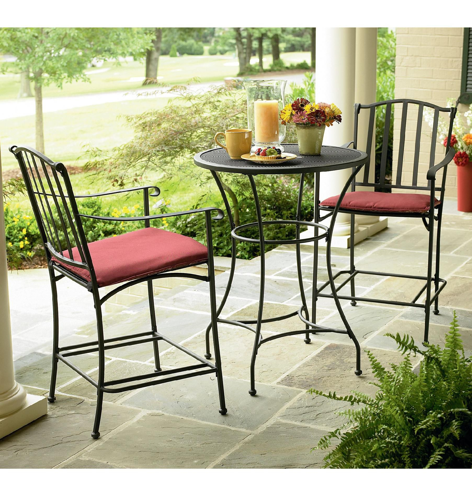 small bistro table and chair inexpensive banquet covers essential garden high wrought iron outdoor living