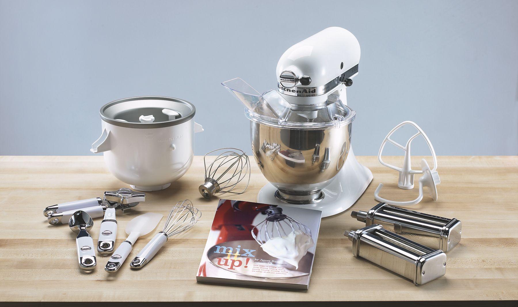 kitchen aid mixer accessories wood mode cabinets kitchenaid 2 quart ice cream maker attachment appliances