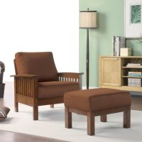 Oxford Creek Marlin Mission-Inspired Arm Chair + Ottoman ...