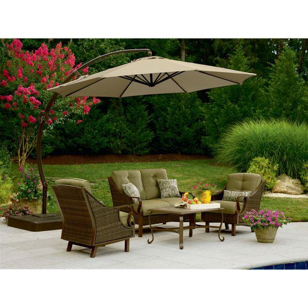 Garden Oasis Offset Umbrella 10ft - Outdoor Living Patio Furniture Umbrellas & Bases