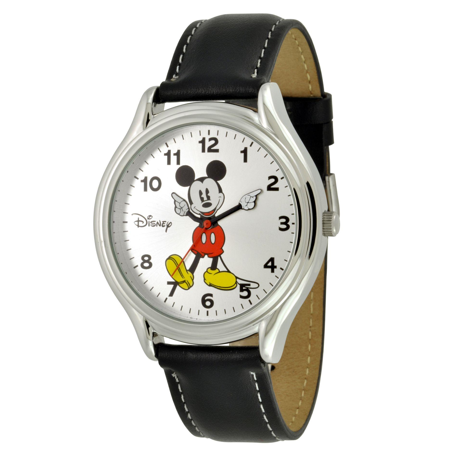 Disney Mickey Mouse Watch Withround Silver-tone Case White