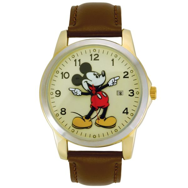 Disney Mickey Mouse Watch Withround Gold-tone Case