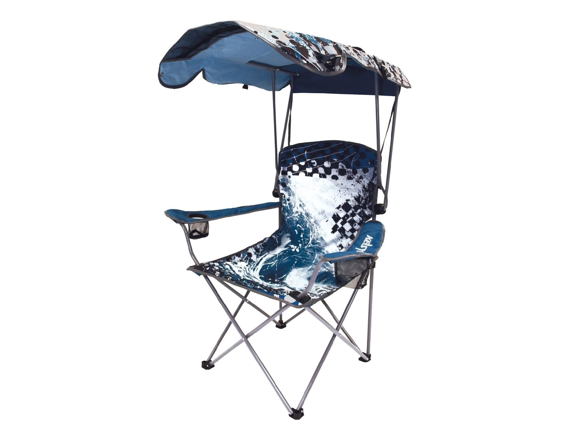 portable beach chair with umbrella gym total body workout 3-level resistance kelsyus canopy blue wave print fitness and sports