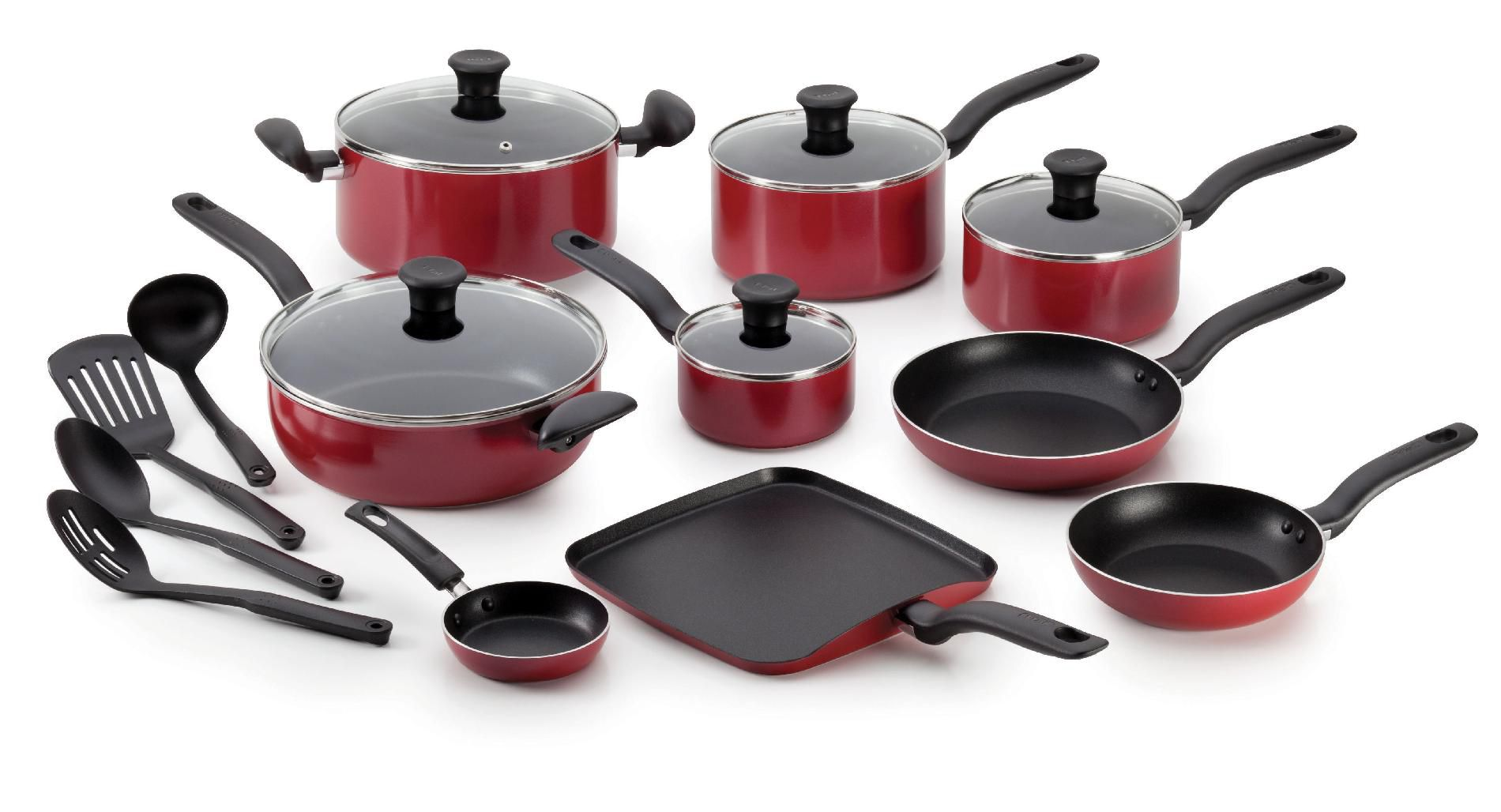 kitchen cookware sets play kitchens for sale t fal initiatives 18 piece nonstick inside and out