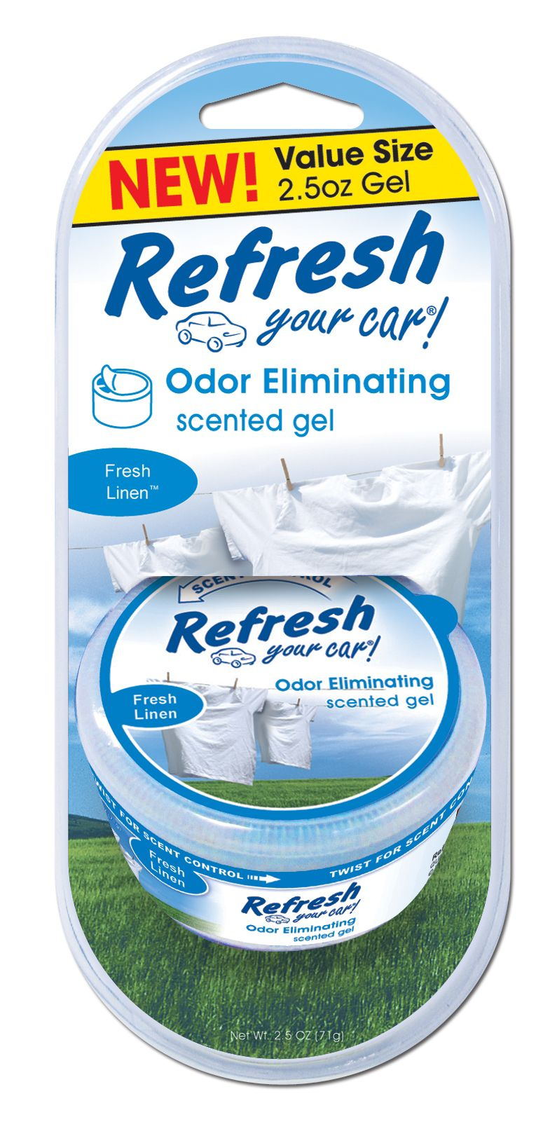 Refresh Fresh Linen Scent Gel Can Air Freshener