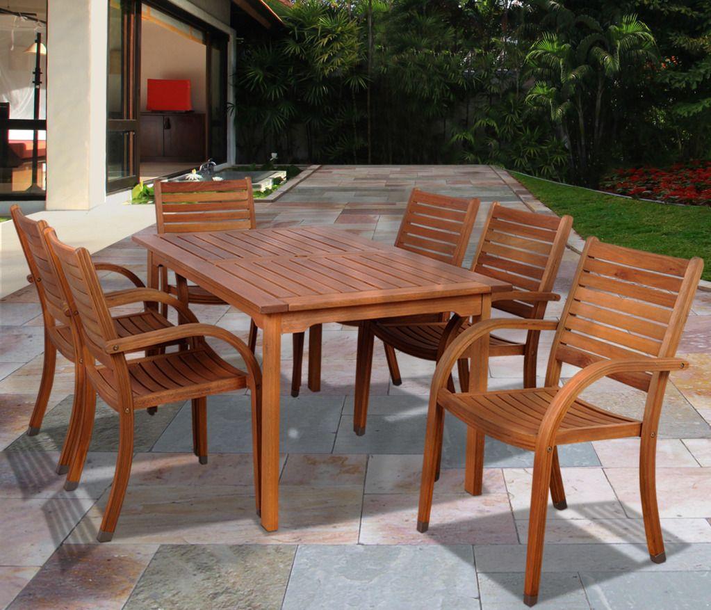 Orlando 7 Piece Eucalyptus Wood Rectangular Patio