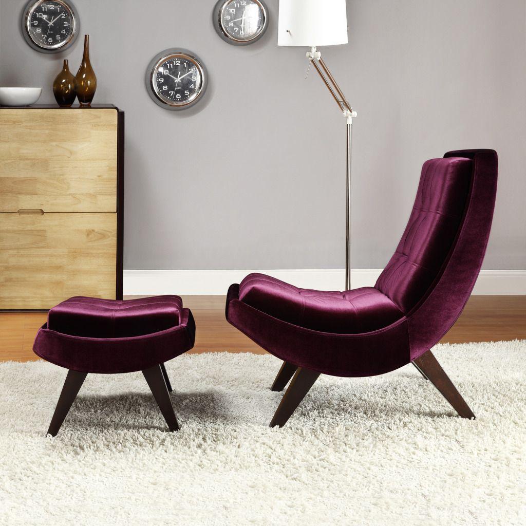 Oxford Creek Contemporary Purple Velvet Chair & Ottoman