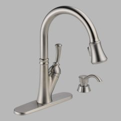 Delta Savile Stainless 1 Handle Pull Down Kitchen Faucet High Flow Single With