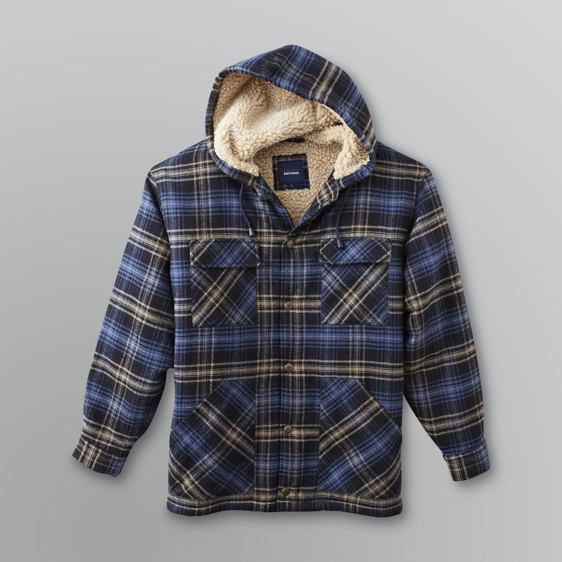 Basic Editions Mens Sherpa Lined Hooded Flannel Jacket