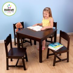 Kidkraft Farmhouse Table And Chair Set Espresso Tablecloths Covers For Sale 4 Chairs