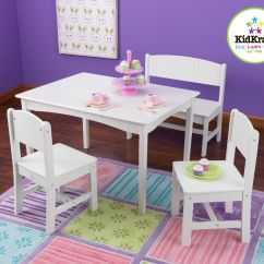Kidkraft Table And Chairs Black Outdoor Rocking Canada Nantucket With Bench 2 White