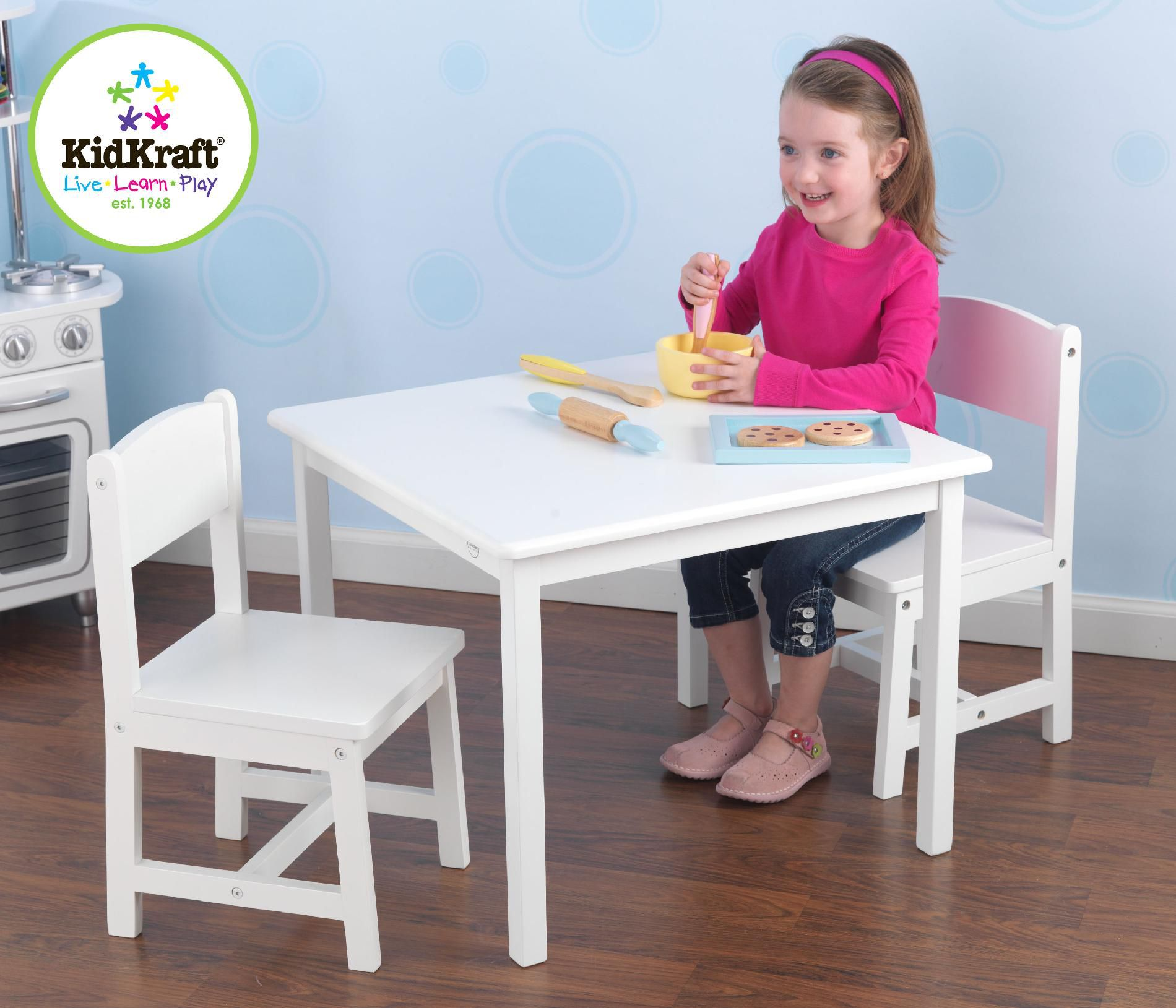 white toddler table and chairs sling stacking patio kidkraft aspen chair set