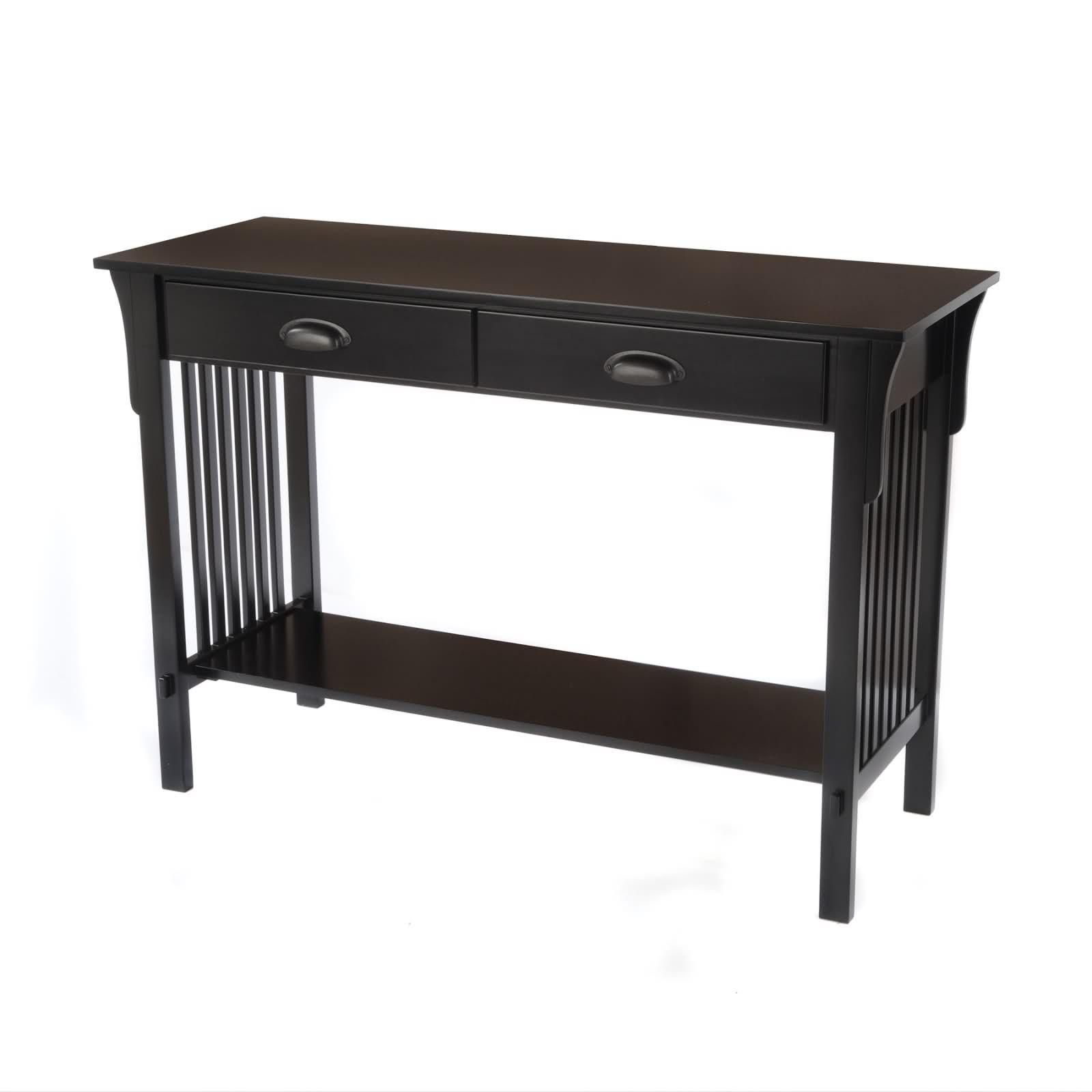 black mission style sofa table dark gray bay shore collection console