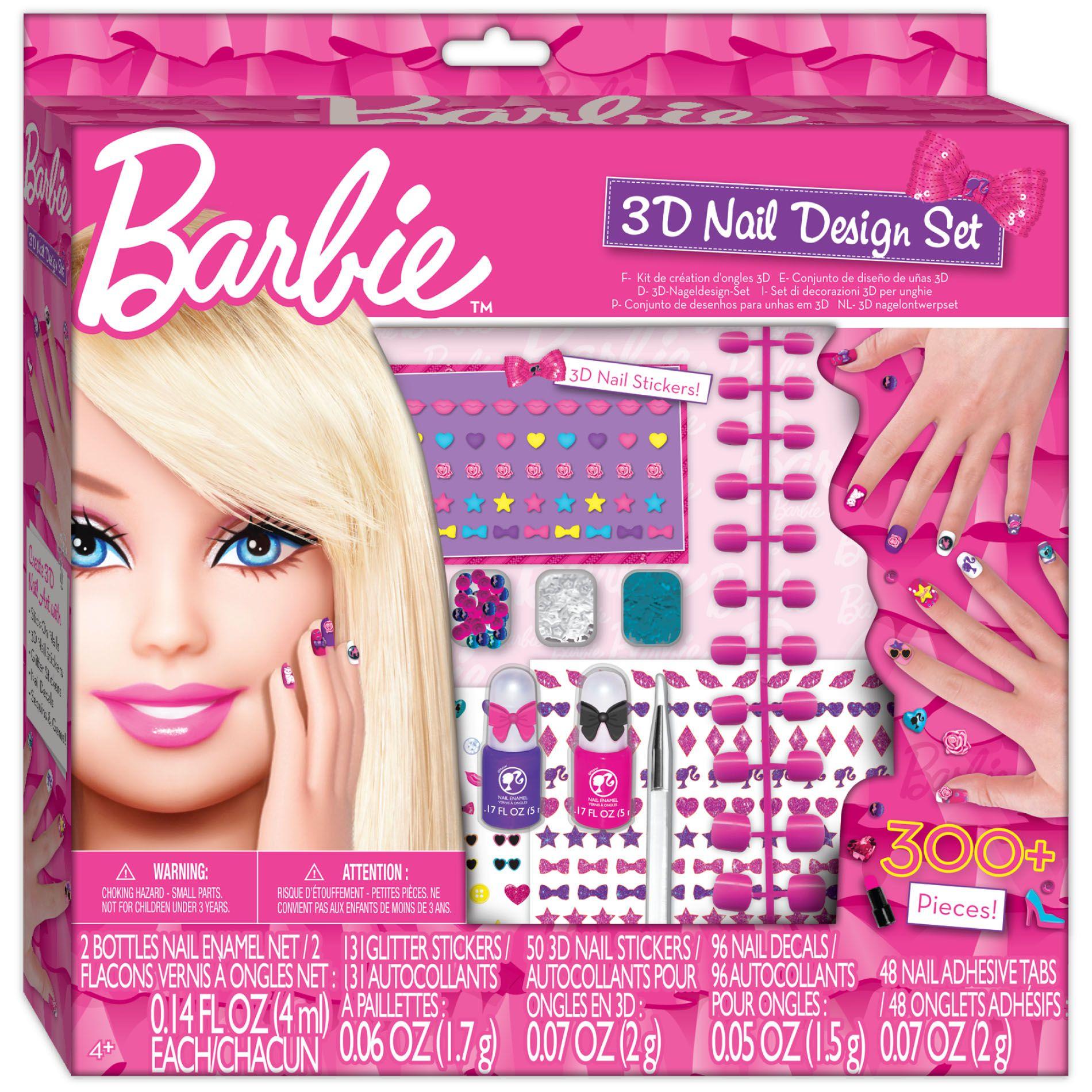 barbie 3d nail design set