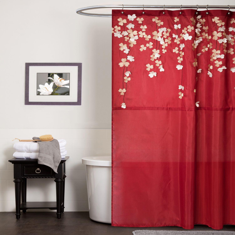 Lush Decor Flower Drop Shower Curtain