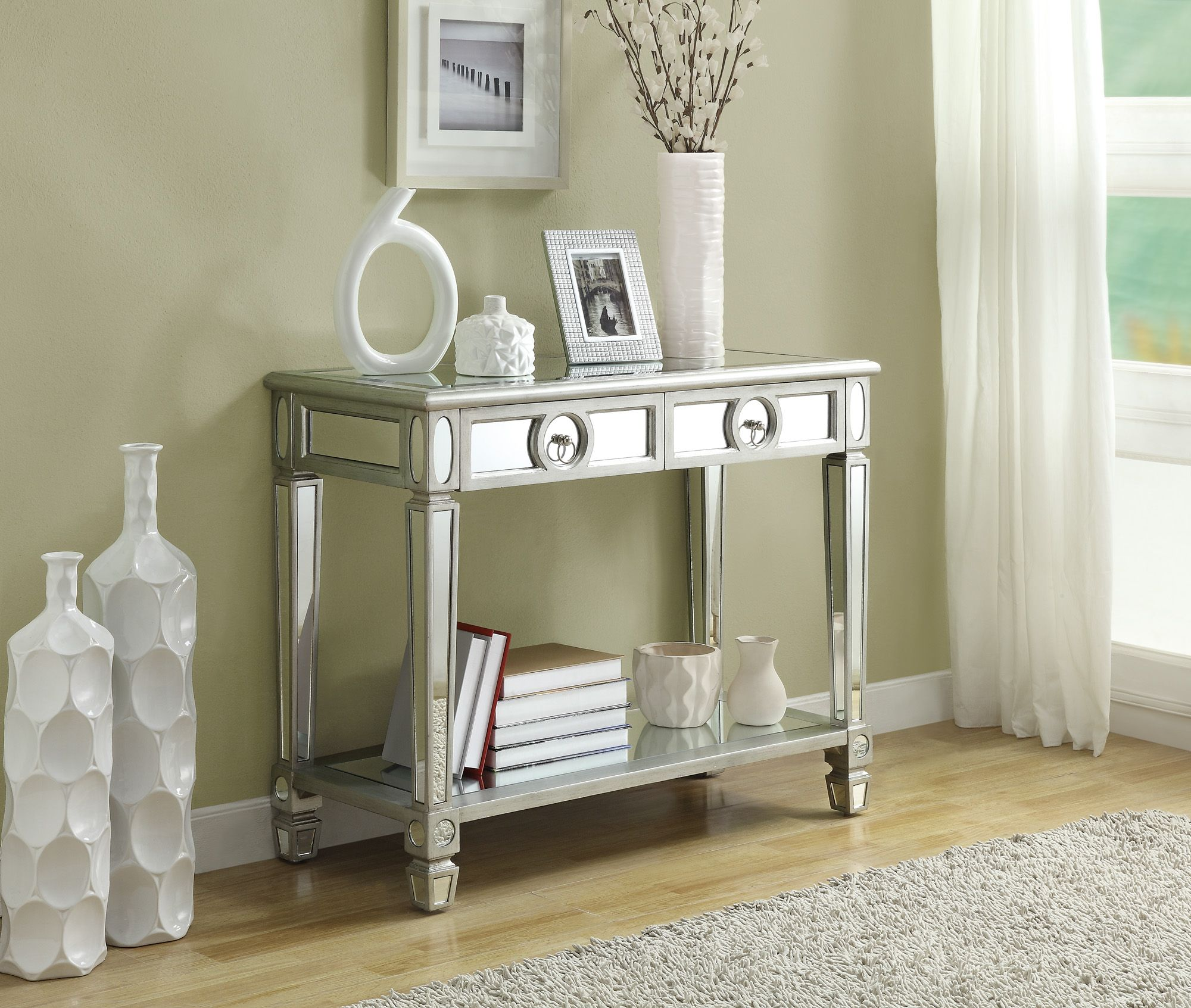 monarch specialties mirrored 38 sofa console table with drawers easy to clean - 38