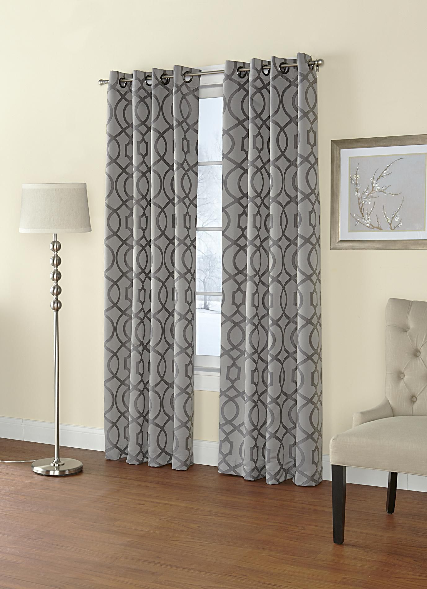 Regal Home Jacquard Grommet-top Single Curtain Panel