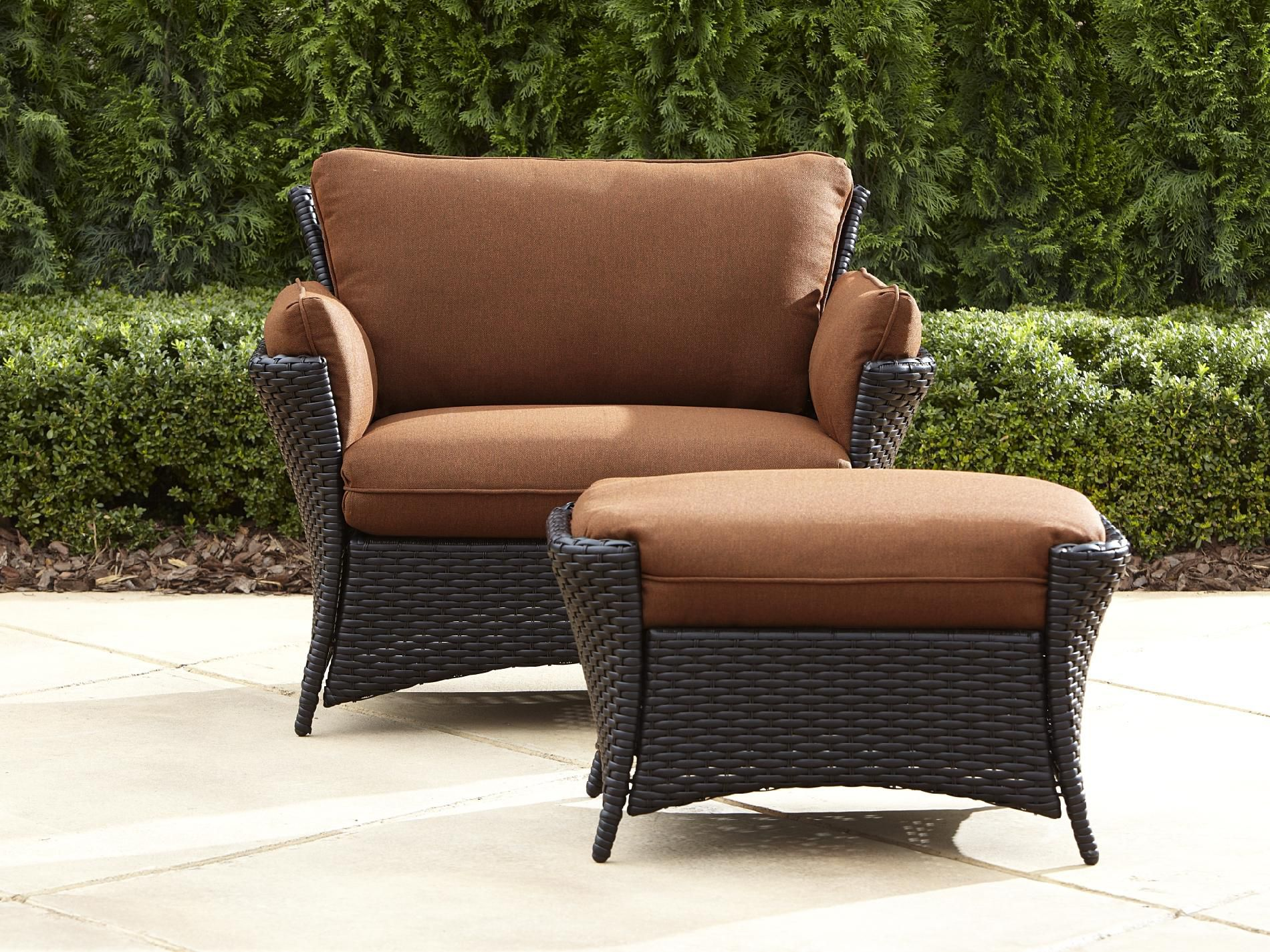 Reclining Outdoor Chair With Ottoman. Chaise Lounges