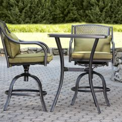 Bistro Set With Swivel Chairs Chair Covers Recliner Garden Oasis Bowery 3pc Stamped Back Tall