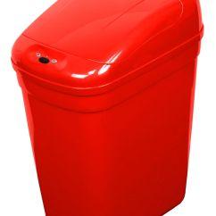 Red Kitchen Trash Can Cost Of Building A Island Nine Stars Ninestars Infrared Motion Sensor Lid Open