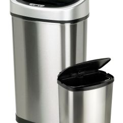 Trash Cans For Kitchen Aid Pasta Attachment Itouchless 16 Gallon Dual Compartment Stainless