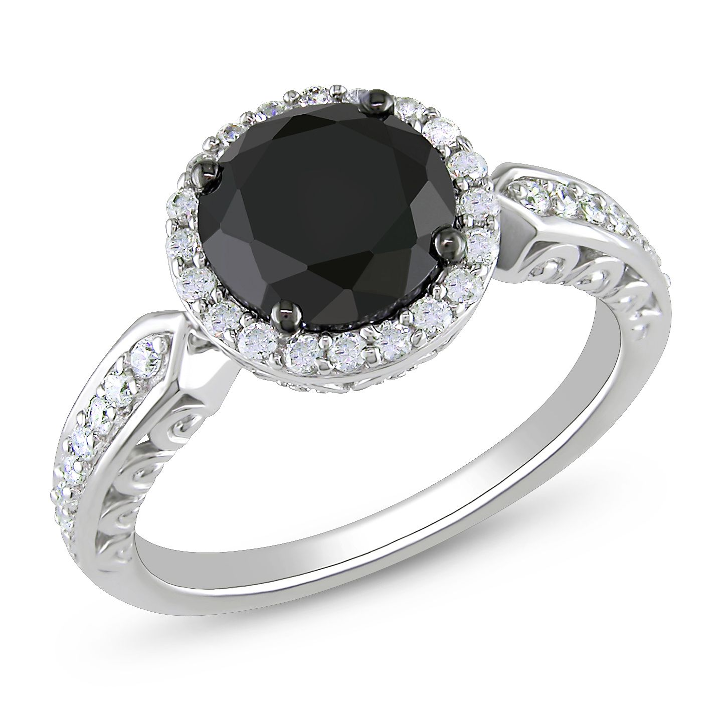 Sterling Silver 3 1 Ct Tgw Black Cubic Zirconia White Engagement Ring