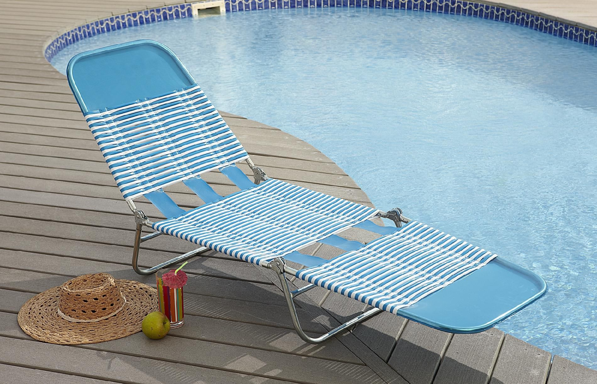 Garden Oasis Pvc Chaise Lounge - Blue Outdoor Living