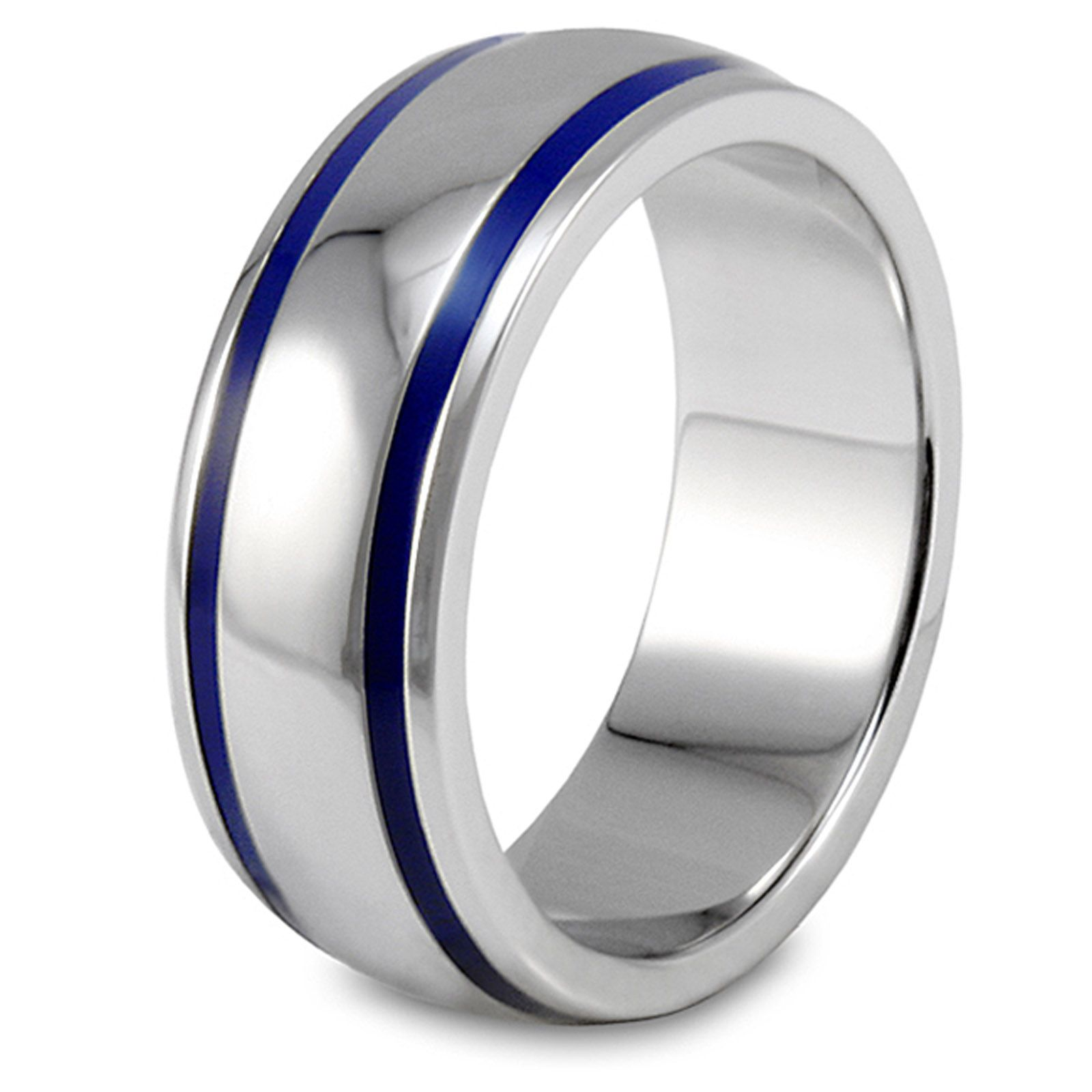 West Coast Jewelry Mens Stainless Steel Blue Enamel