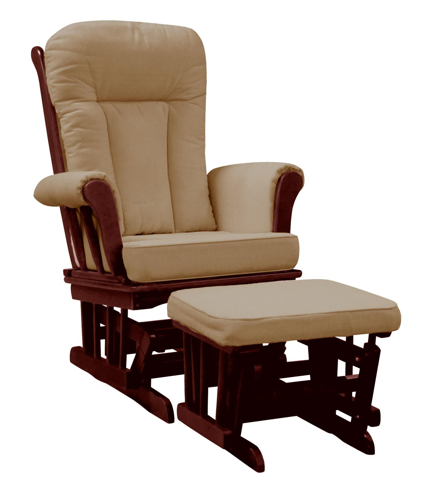 Dream On Me Elysium Glider Rocker and matching Ottoman with Espresso Glider with Beige Cushion