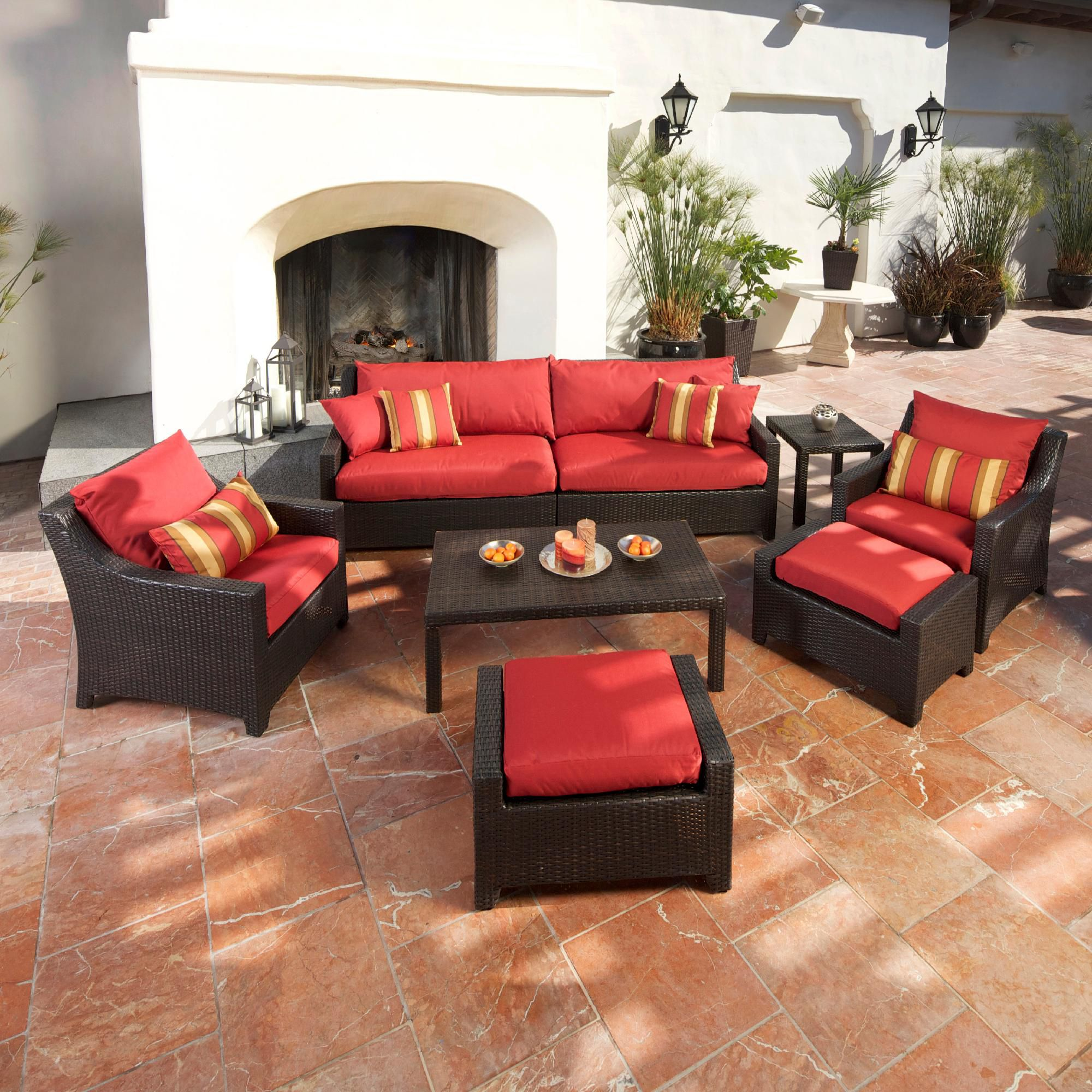 Rst Brands Cantina 8-piece Sofa Club Chair And Ottomans Set
