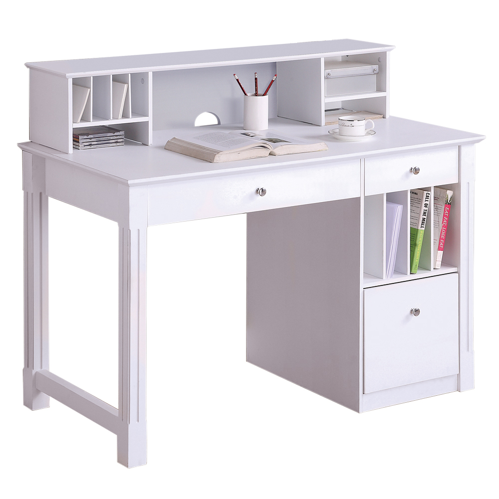 Walker Edison Deluxe White Wood Computer Desk with Hutch ...