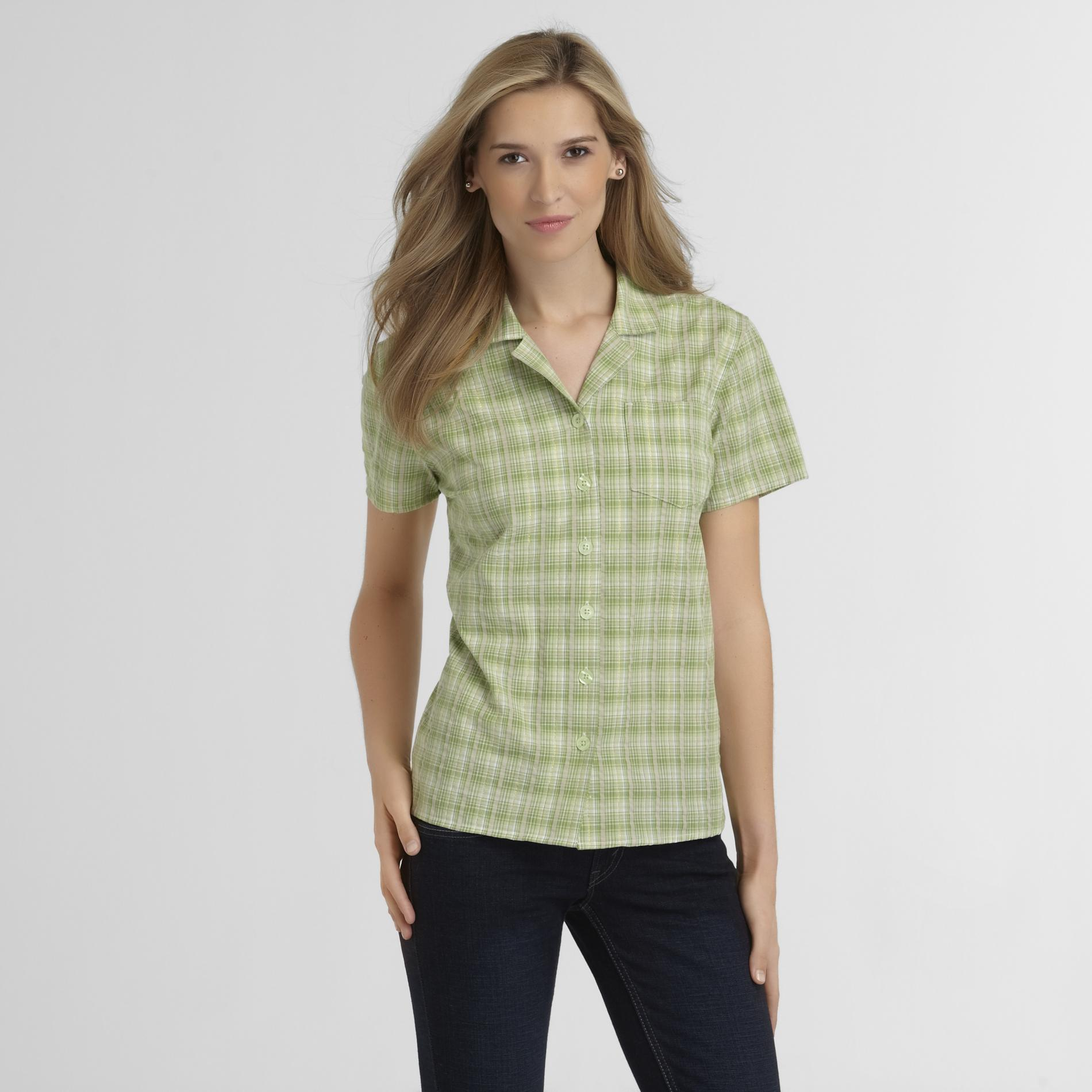 Basic Editions Womens Seersucker Shirt