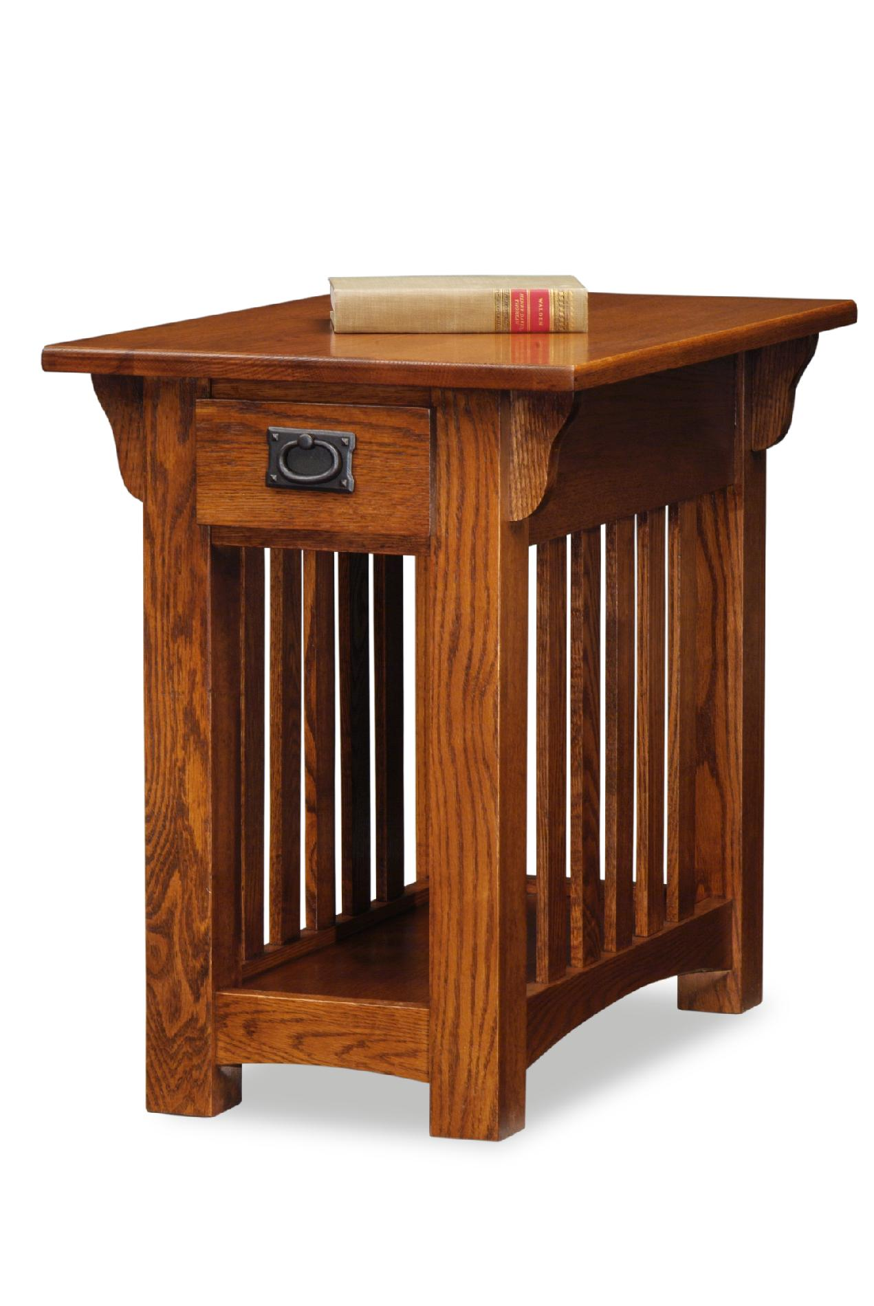 chair side tables with storage green wedding covers leick 8206 mission end table drawer and shelf medium oak