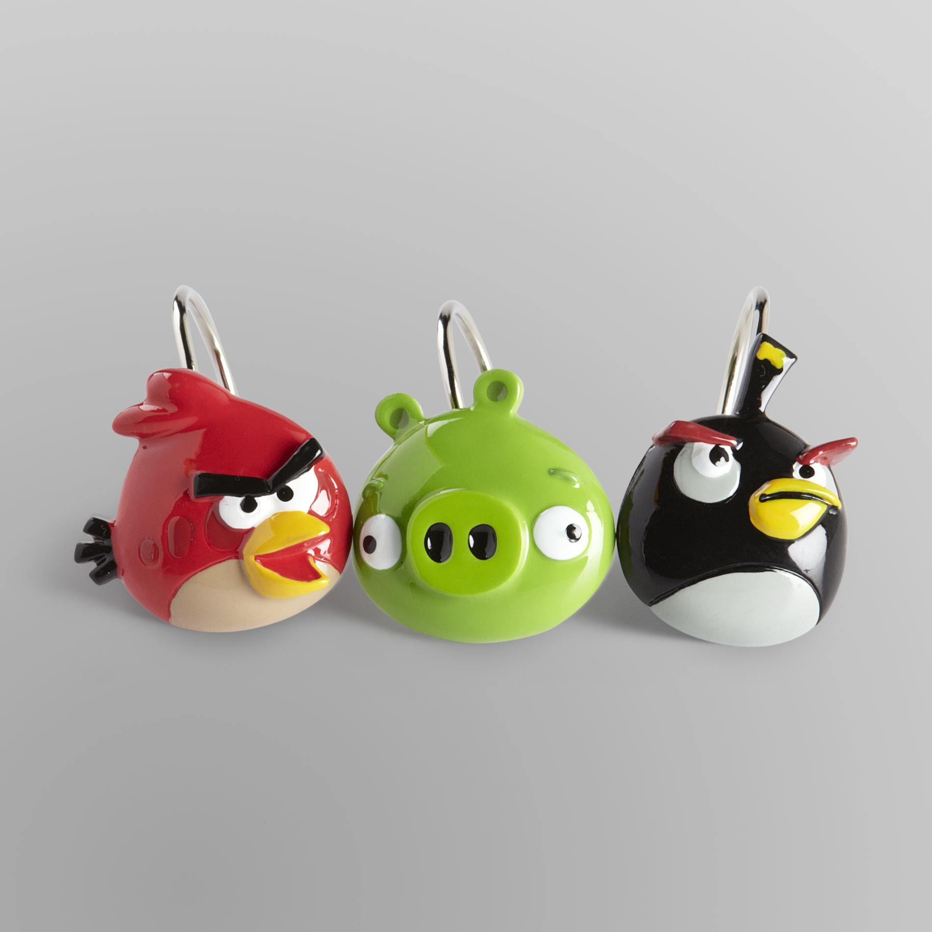 Angry Birds 12 Piece Shower Curtain Hooks