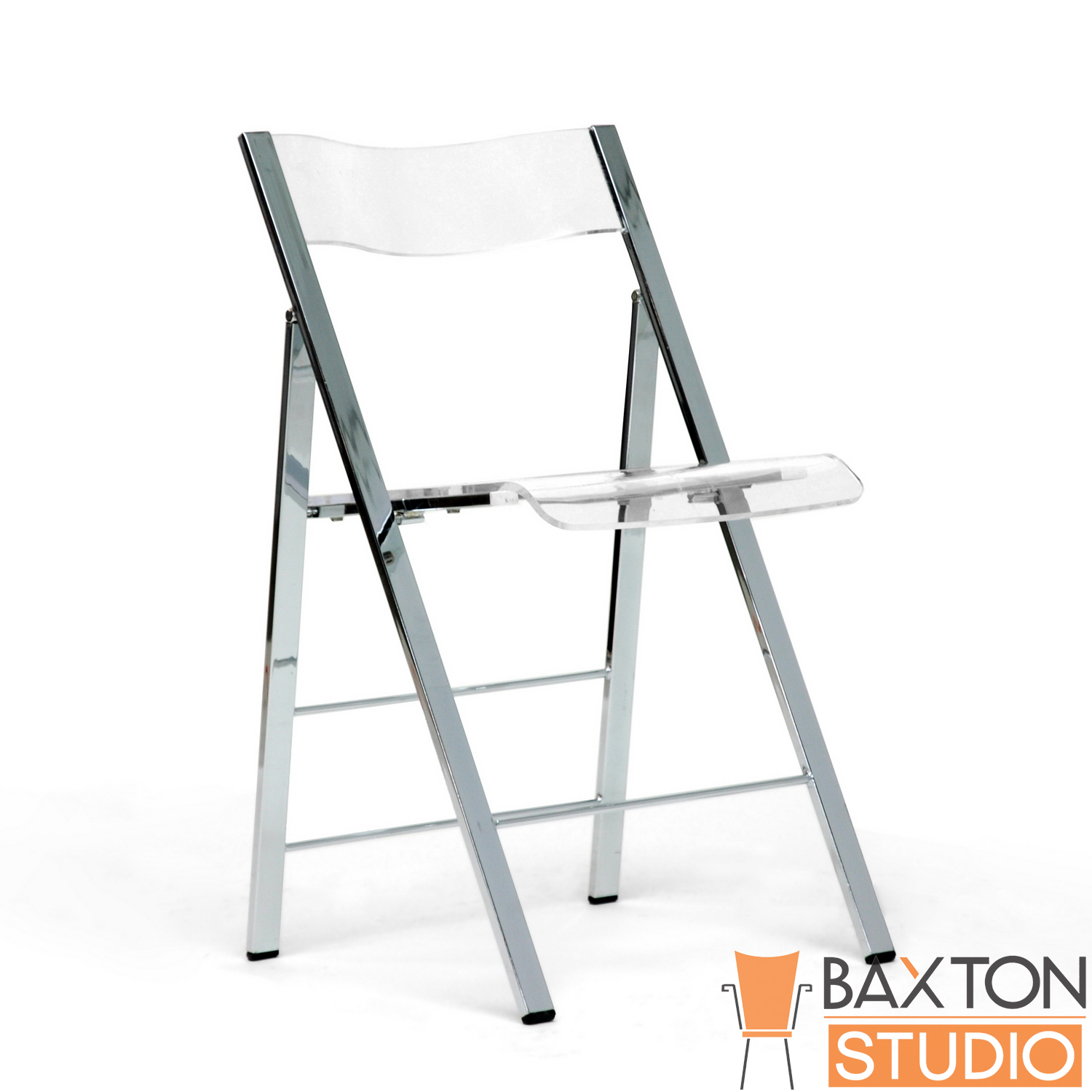 Baxton Studio Adelaide Acrylic Folding Chair  Clear