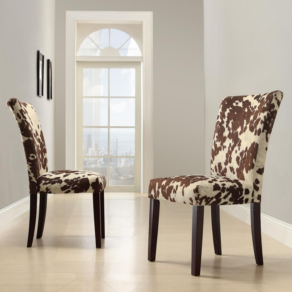 cowhide print accent chair stair lift chairs oxford creek moo parson side set of 2 multi