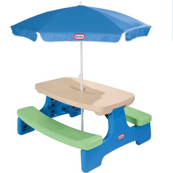 little tikes adjustable table and chairs lounge chair material easy store picnic with umbrella blue 4