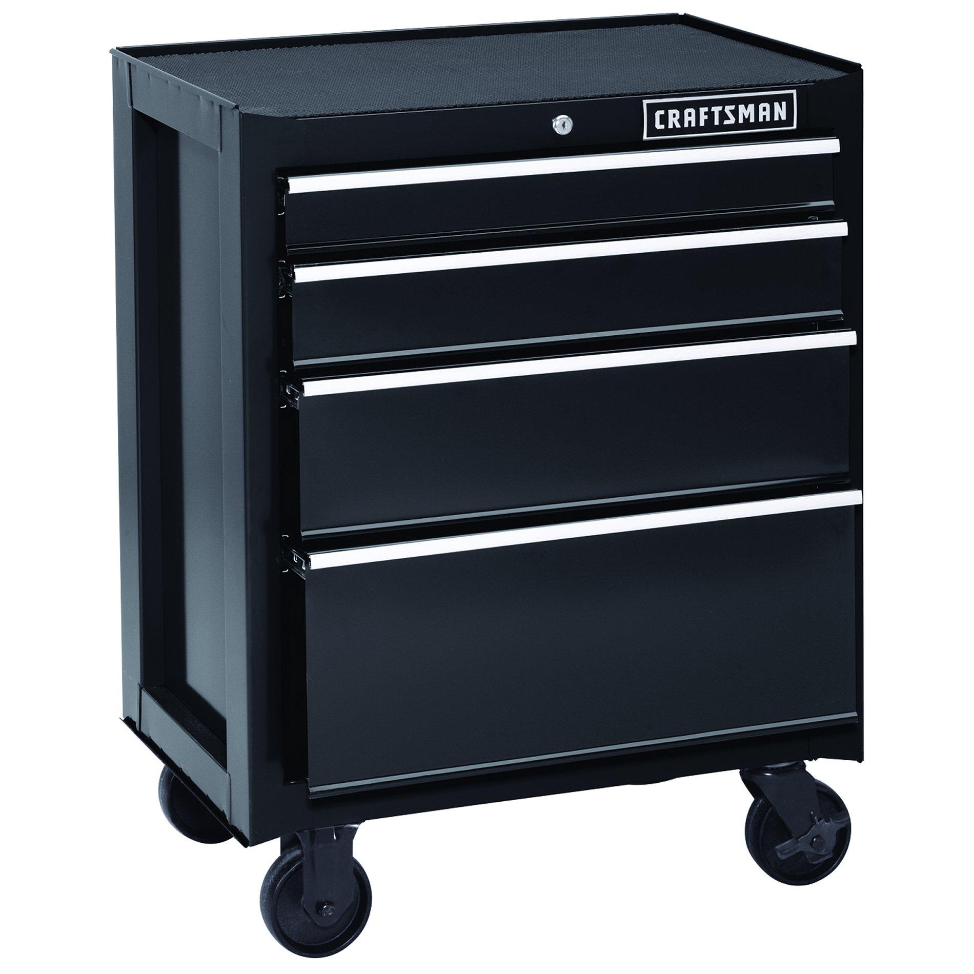 Craftsman 26 4Drawer HeavyDuty Rolling Cabinet  Black