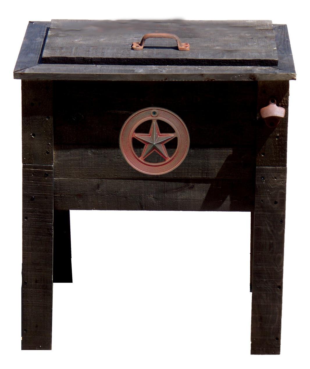 Outdoor Ventures 57 Qt. Rustic Wooden Deck Cooler Star