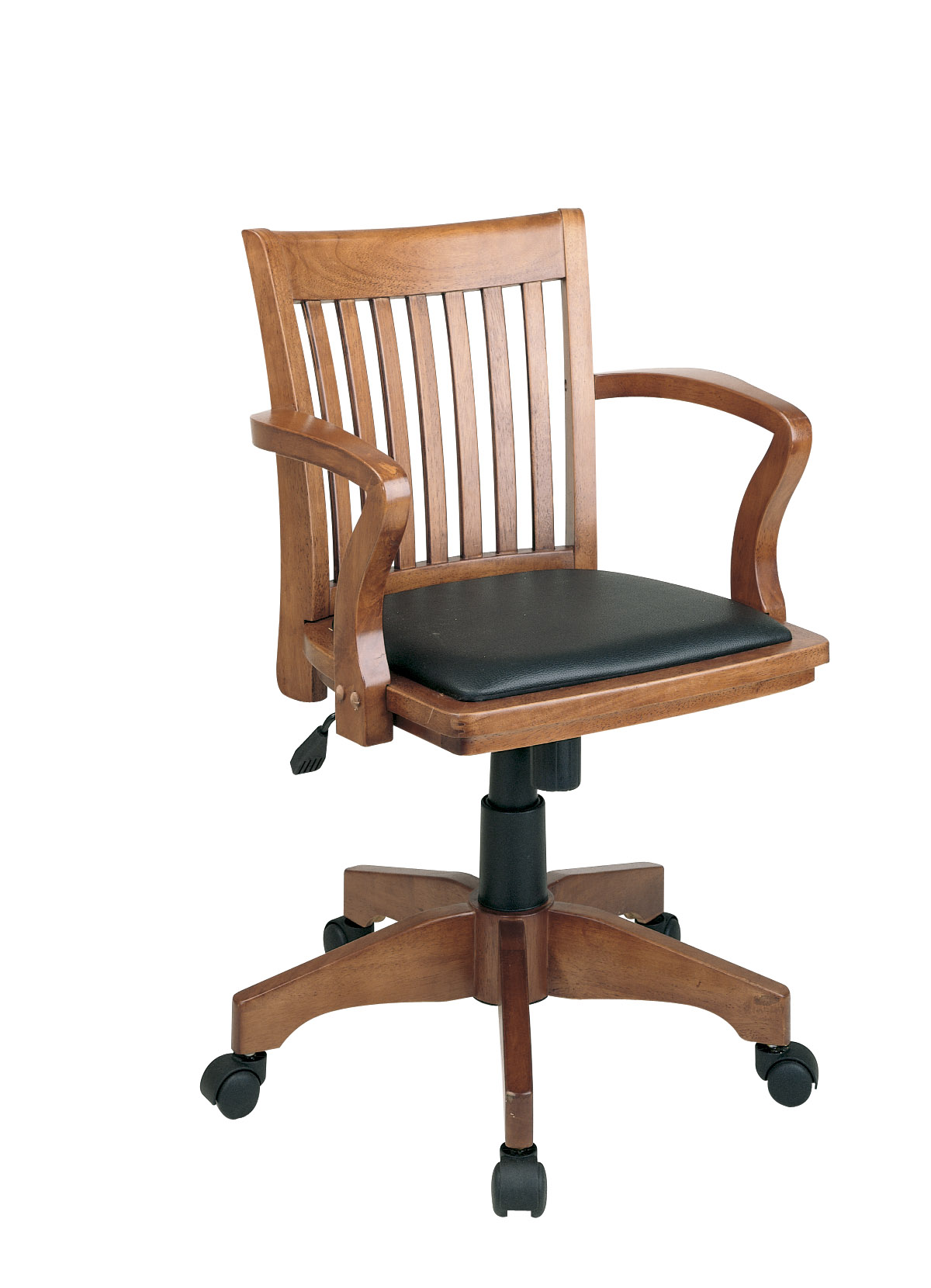 wooden office desk chairs OSP Designs Deluxe Wood Banker's Chair with Vinyl Padded