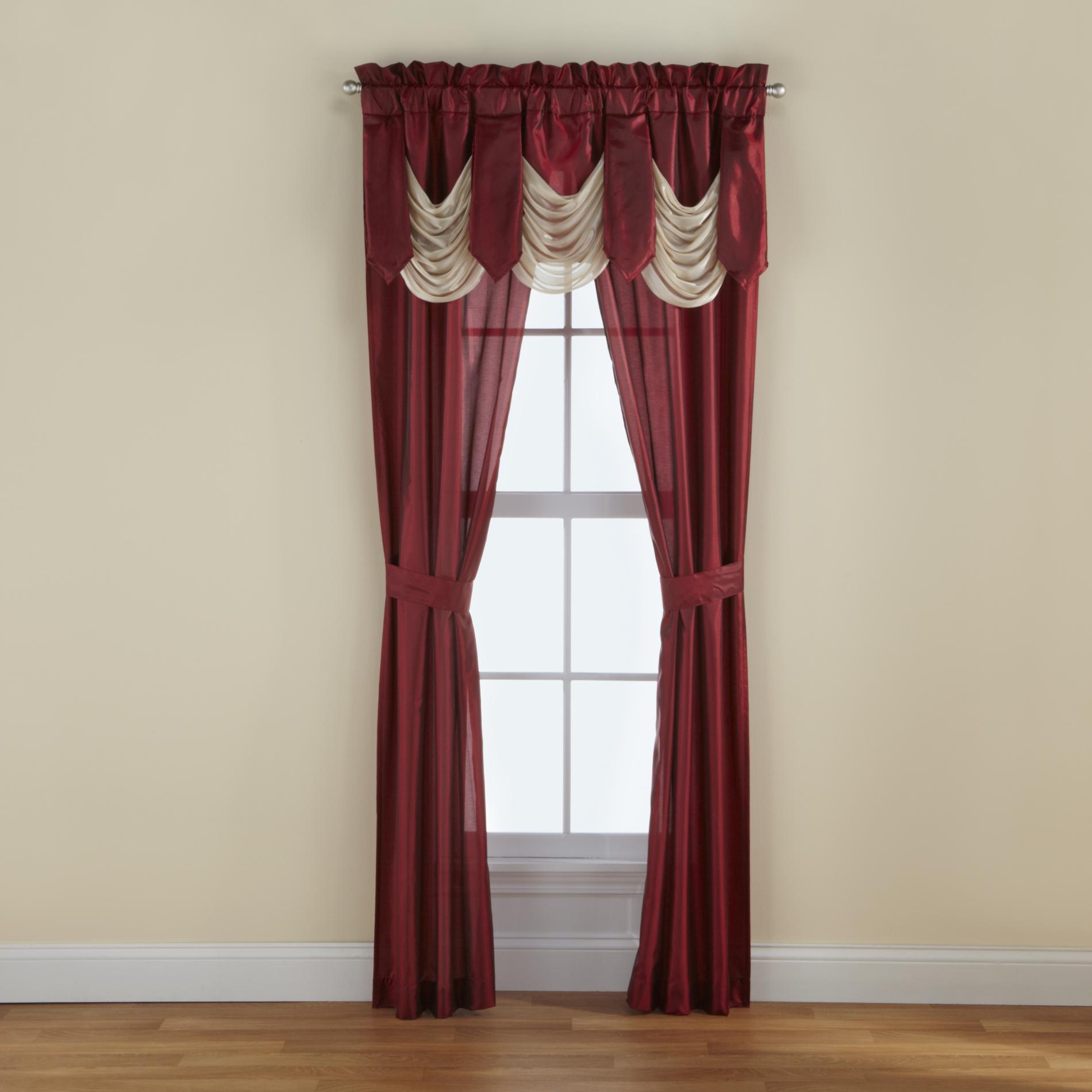 Cannon 5Piece Curtain Panels Valance  Tiebacks
