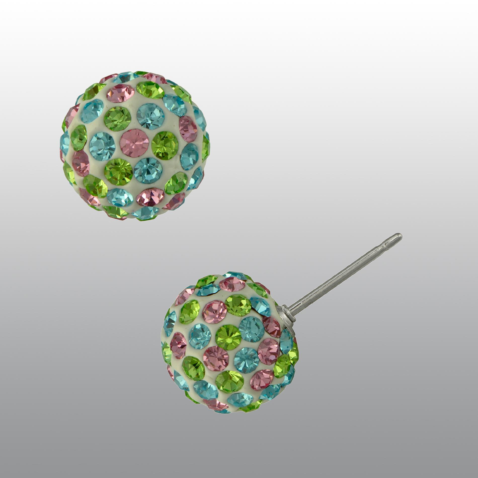 Pave Multi-color Crystal Ball Stud Earrings - Jewelry