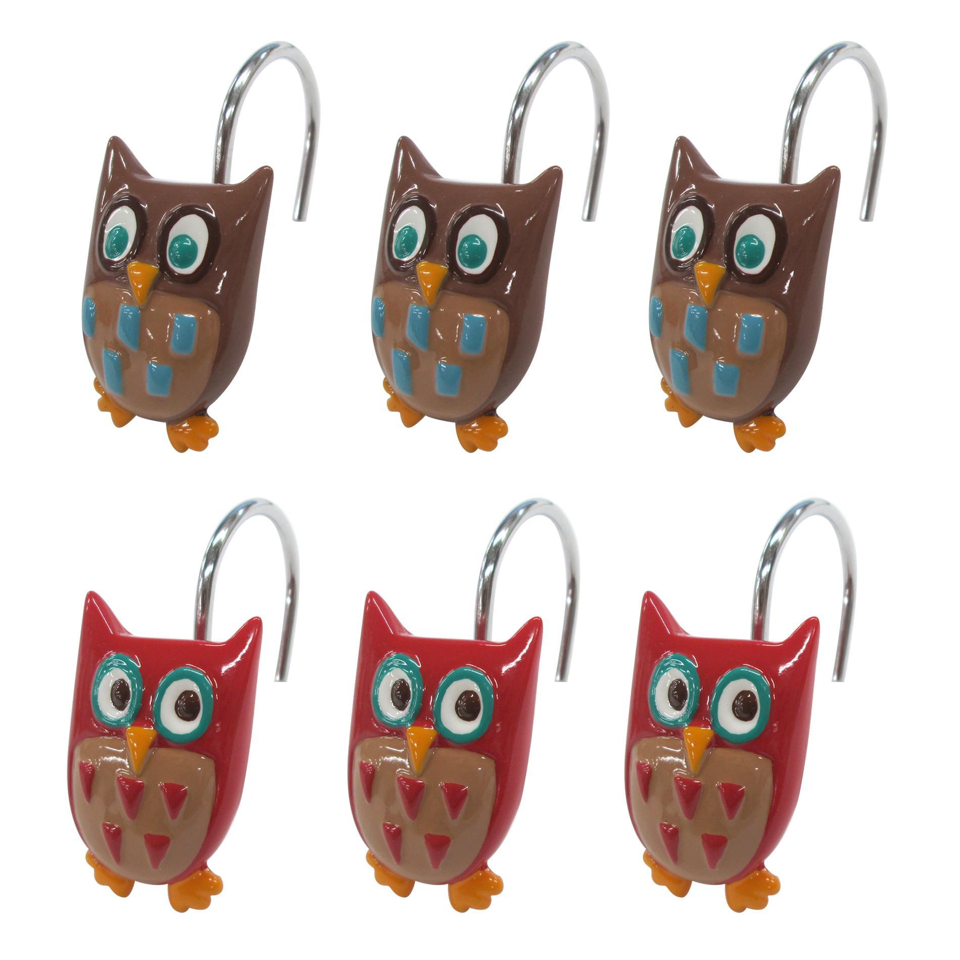 Colormate Owl Garden Shower Curtain Hooks