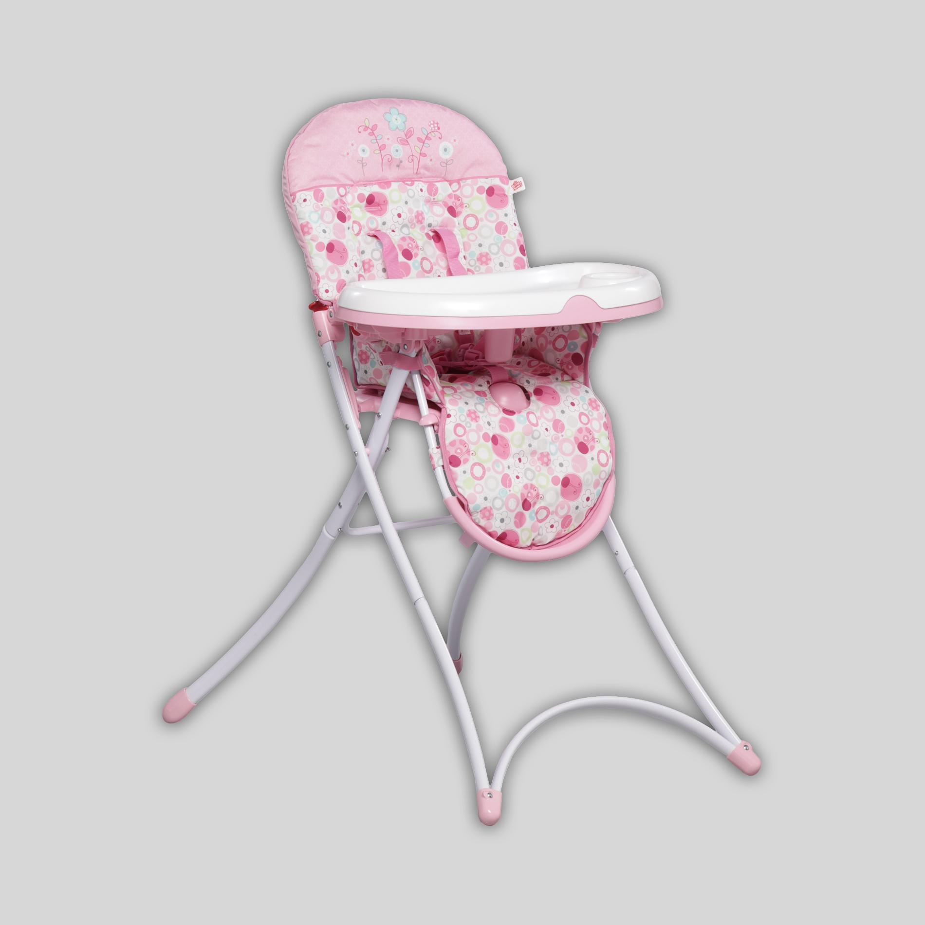bright starts high chair rattan accent pretty in pink sweet spots ladybugs