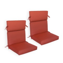 Patio High Back Chair Cushions Comfy Gaming Sunbrella 2 Pack Deluxe Available In Canvas Henna Spectrum Sand And Cork