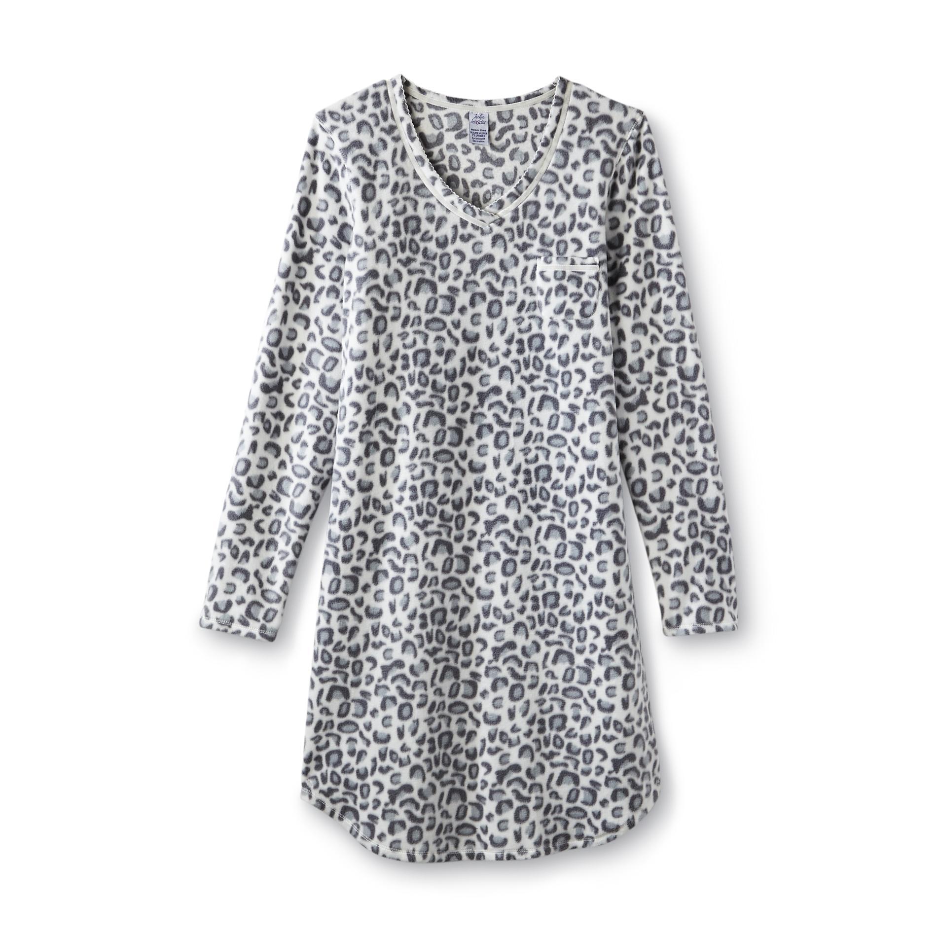 Jaclyn Intimates Women' Microfleece Nightshirt - Cheetah Print