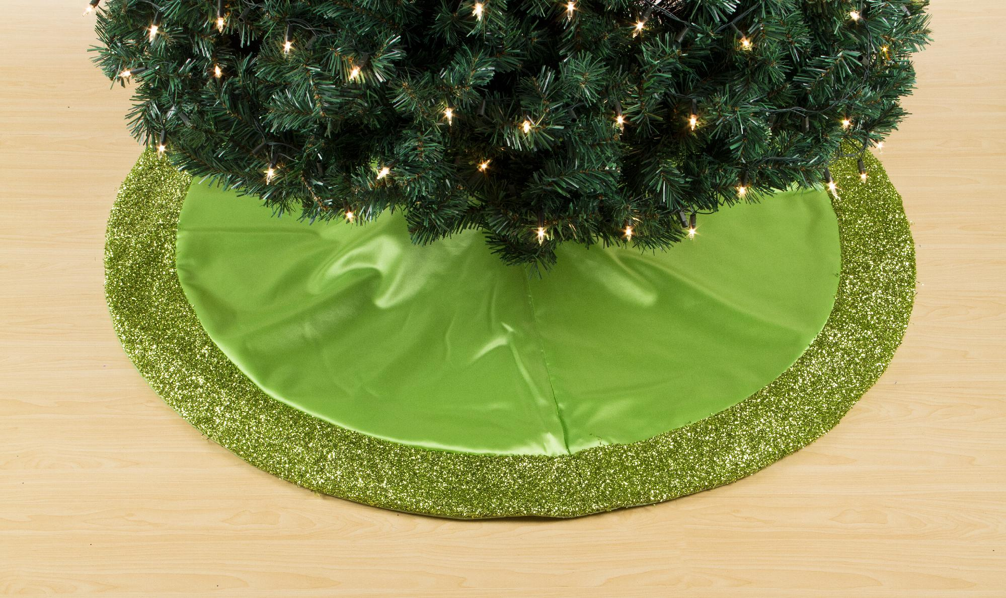 Trim A Home Lime Green Satin Tree Skirt With Lime Green