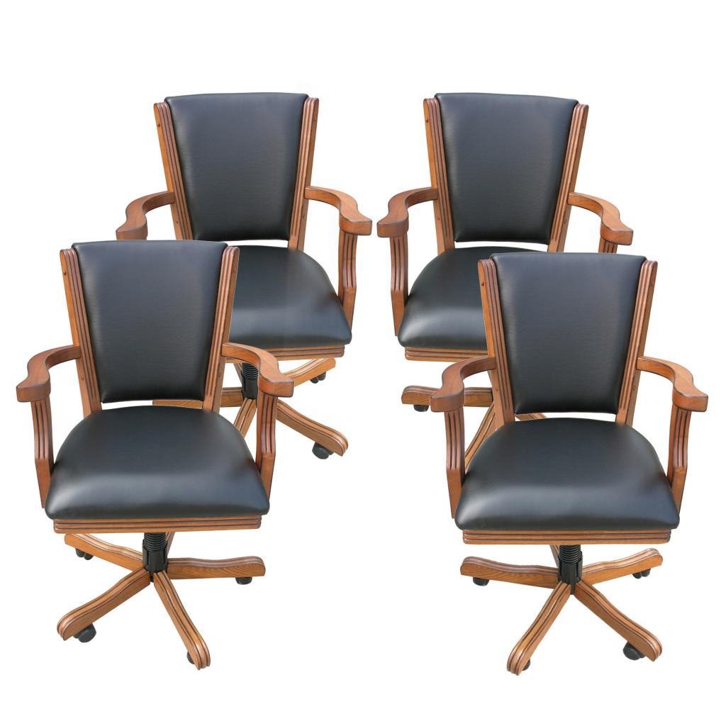 Poker Table And Chairs Hathaway Kingston Dark Oak Poker Table Arm Chair Set Of 4