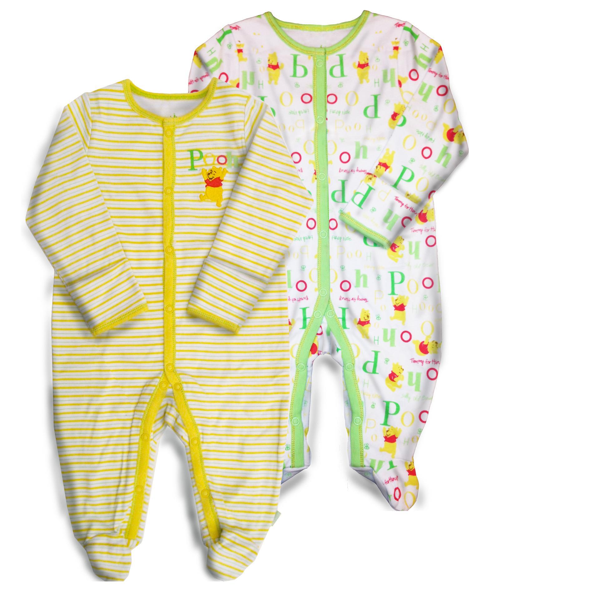 Disney Winnie The Pooh Infants 2 Pairs Sleeper Pajamas