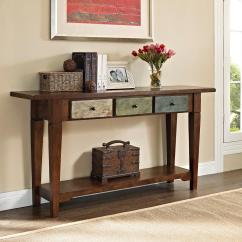 Country Cote Sofa Table Driftwood Finish Dorel Sage Rustic Console With Multi Colored